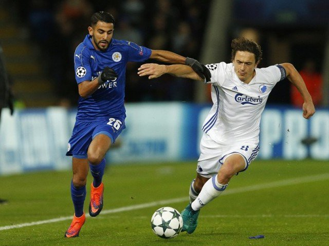 Riyad Mahrez (L) scored the only goal of the game. PHOTO: REUTERS